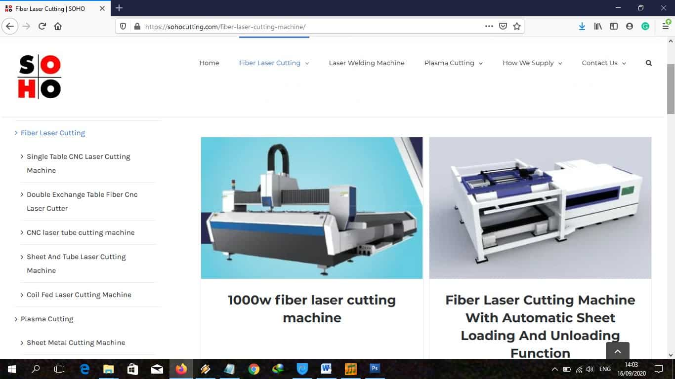 Figure 15 Soho web page of fiber laser cutting machine